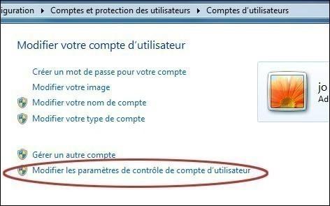 desactiver le controle de compte utilisateur uac sur seven 2