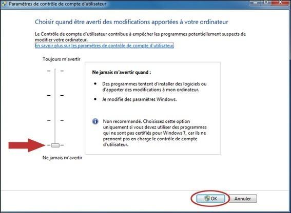 desactiver le controle de compte utilisateur uac sur seven 3