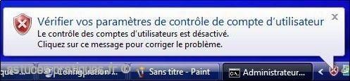 desactiver le controle de compte utilisateur uac sur vista 3