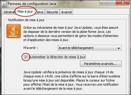 desactiver les mises a jour automatiques de java sur seven 3
