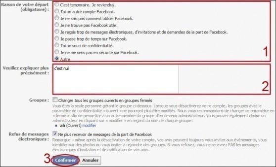 desactiver un compte facebook 3