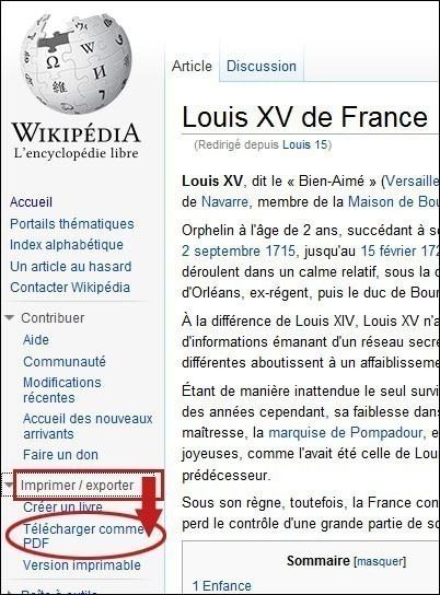 Enregistrer un article wikipedia en pdf