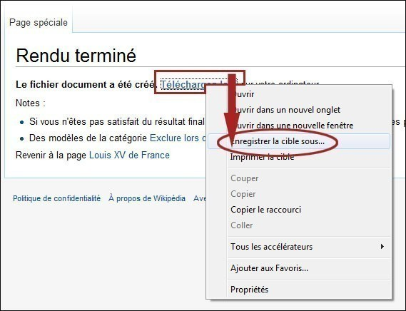 enregistrer un article wikipedia en pdf