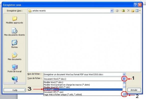 enregistrer un document word au format pdf sous word 2010 1
