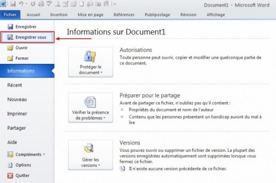 enregistrer un document word au format pdf sous word 2010 0