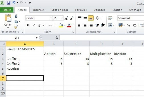 excel calcules de base 1