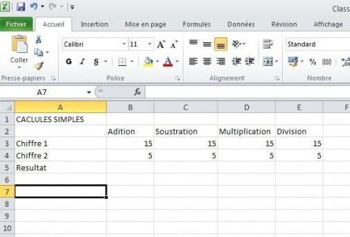 excel calcules de base 1