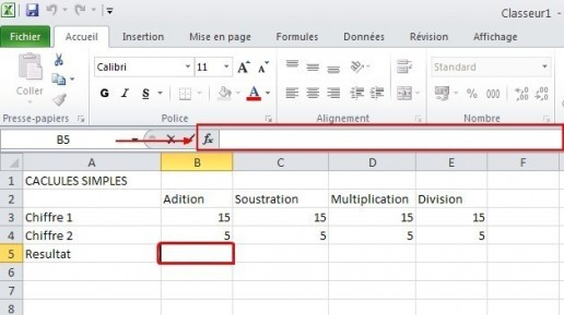 excel calcules de base 2