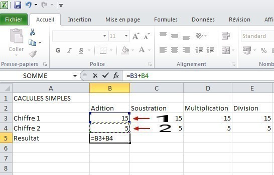 excel calcules de base 3