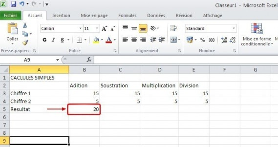 excel calcules de base 4