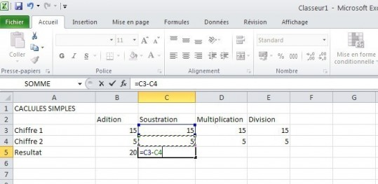 excel calcules de base 5