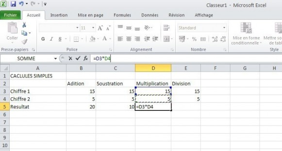 excel calcules de base 6