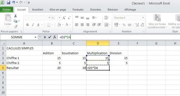 excel calcules de base 6