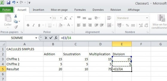 excel calcules de base 7