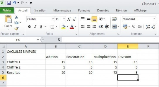 excel calcules de base 8