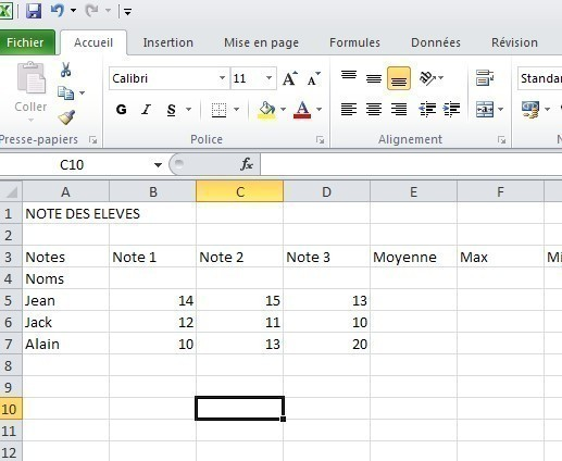 excel formules moyenne max min 1