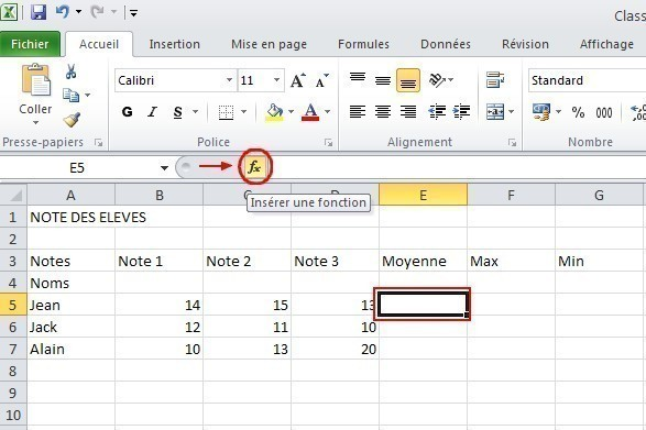 excel formules moyenne max min 2