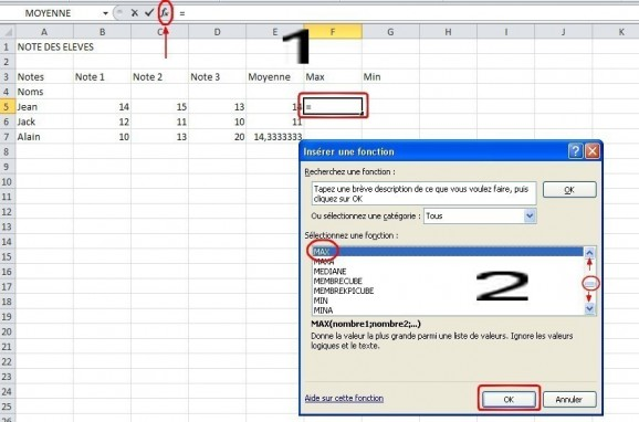 excel formules moyenne max min 11