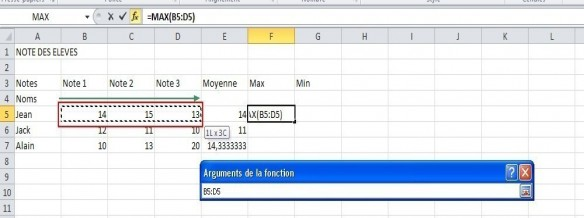 excel formules moyenne max min 12
