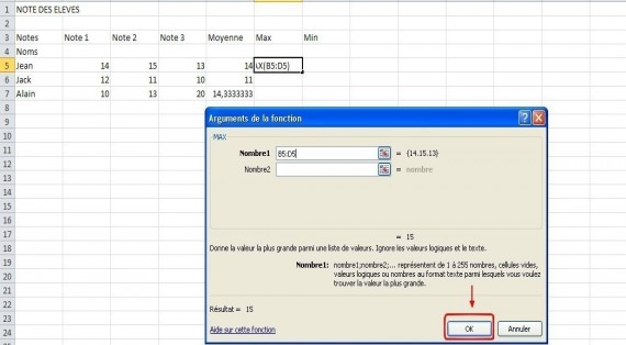 excel formules moyenne max min 13