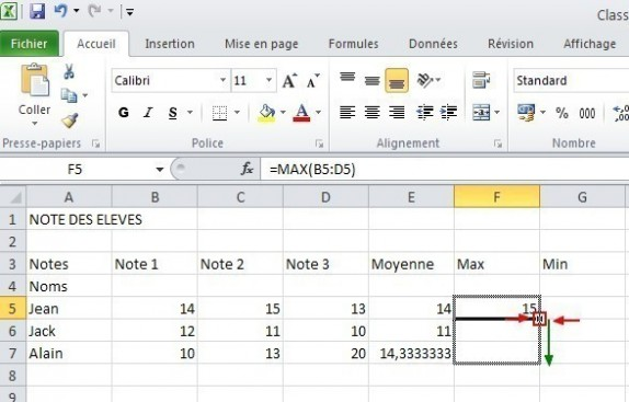 excel formules moyenne max min 14