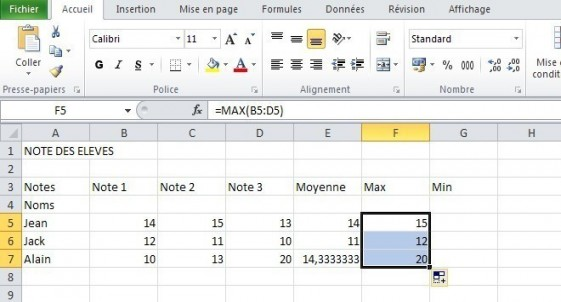 excel formules moyenne max min 15