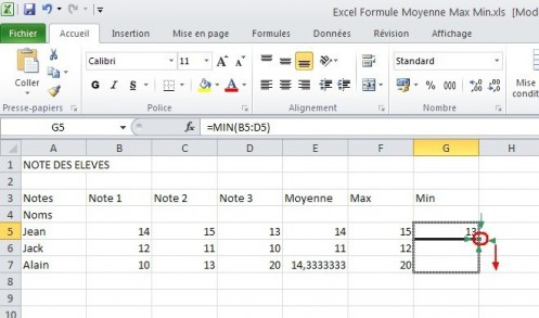 excel formules moyenne max min 19