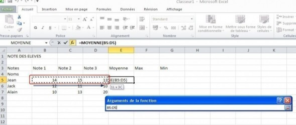 excel formules moyenne max min 5