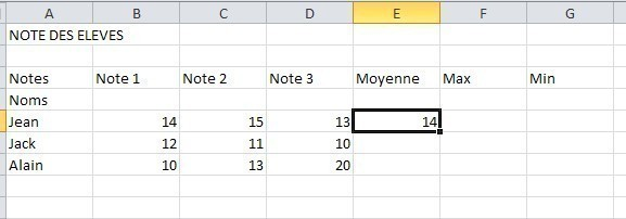 excel formules moyenne max min 7