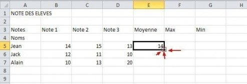 excel formules moyenne max min 8