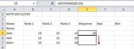 excel formules moyenne max min 9