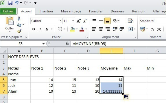 excel formules moyenne max min 10