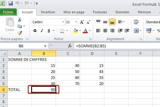 excel formules somme 6