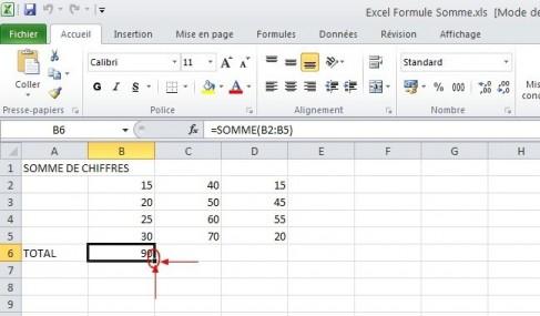excel formules somme 7