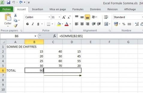 excel formules somme 8