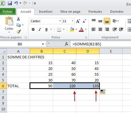 excel formules somme 9