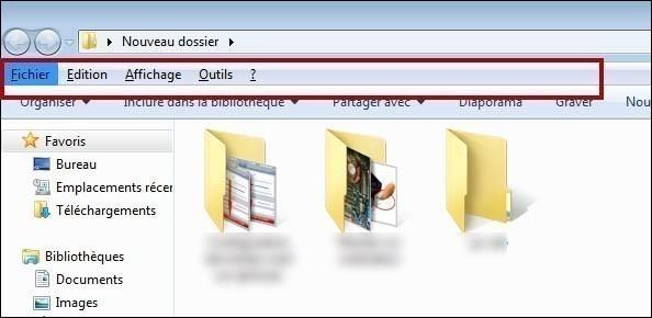 faire apparaitre la barre d outils d un dossier sur seven 0
