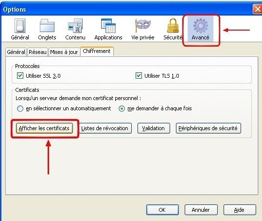 firefox ajouter un certificat web 1