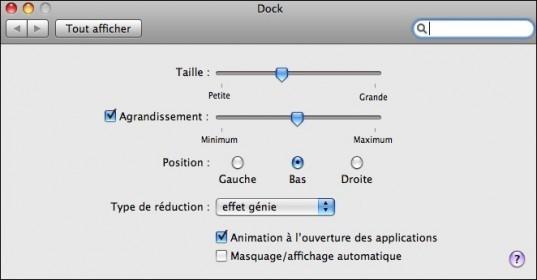 gerer ou deplacer le dock sur mac osx 4