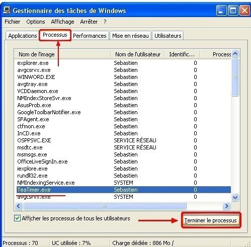 gestionnaire de taches terminer un processus sur xp 0