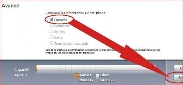 importer contacts google sur iphone avec itunes 3