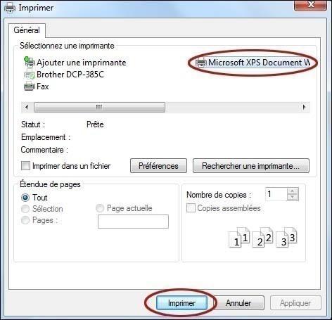 imprimer un document dans un fichier xps 0