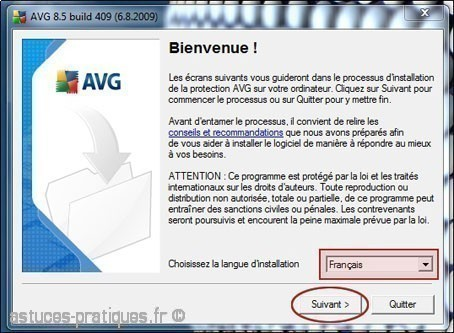 installation de l'antivirus avg