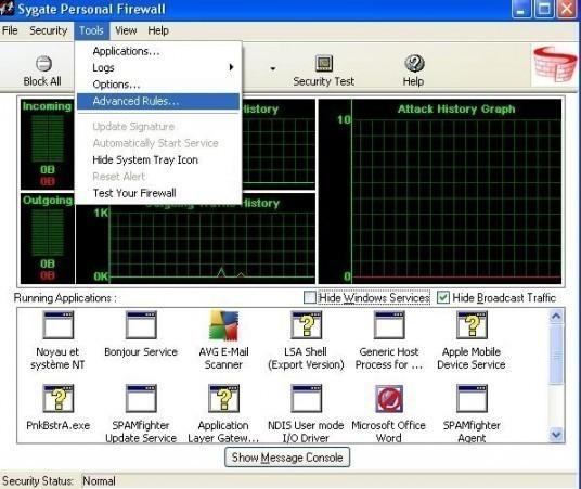 installation et configuration de sygate personal firewall 15
