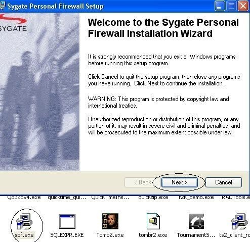 installation et configuration de Sygate Personal Firewall