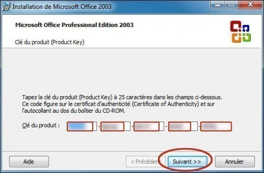 installation personnalisee de office 2003 0