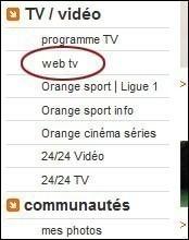 installer et regarder La web tv d'orange