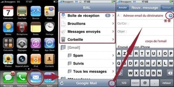 installer et utiliser une boite mail sur iphone 1