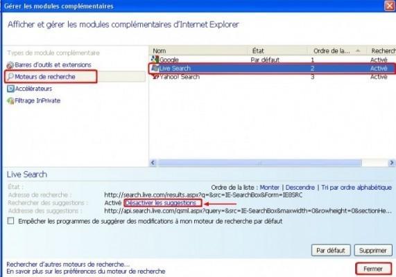 internet explorer activer desactiver les modules complementaires 1