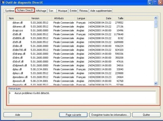l outil de diagnostic directx 4